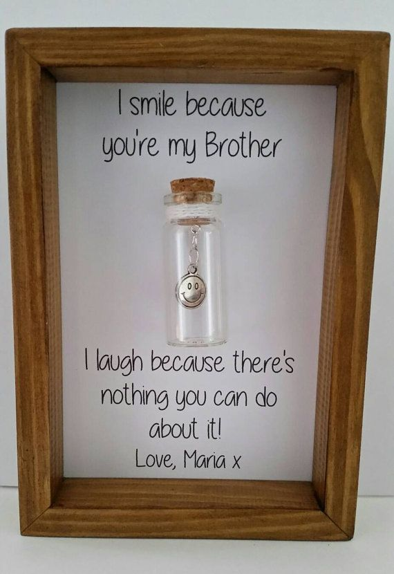 Humorous Personalised Gift For Brother Real Wood Frame Glass