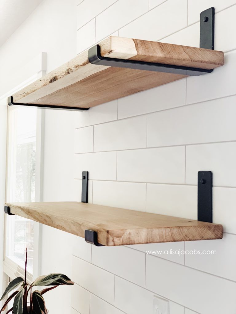 How To Make Open Shelving A Diy Wood Shelf Tutorial Allisa Jacobs In 2020 Diy Wood Shelves Diy Wooden Shelves Wood Diy