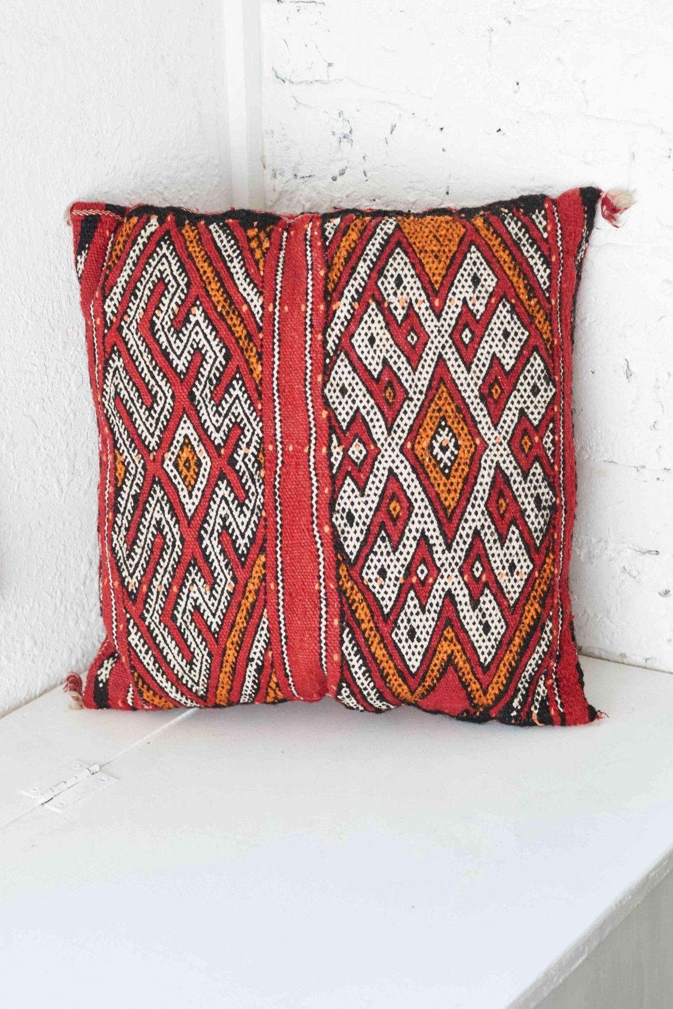 Vintage Baharat Kilim Pillow  Moroccan Medina