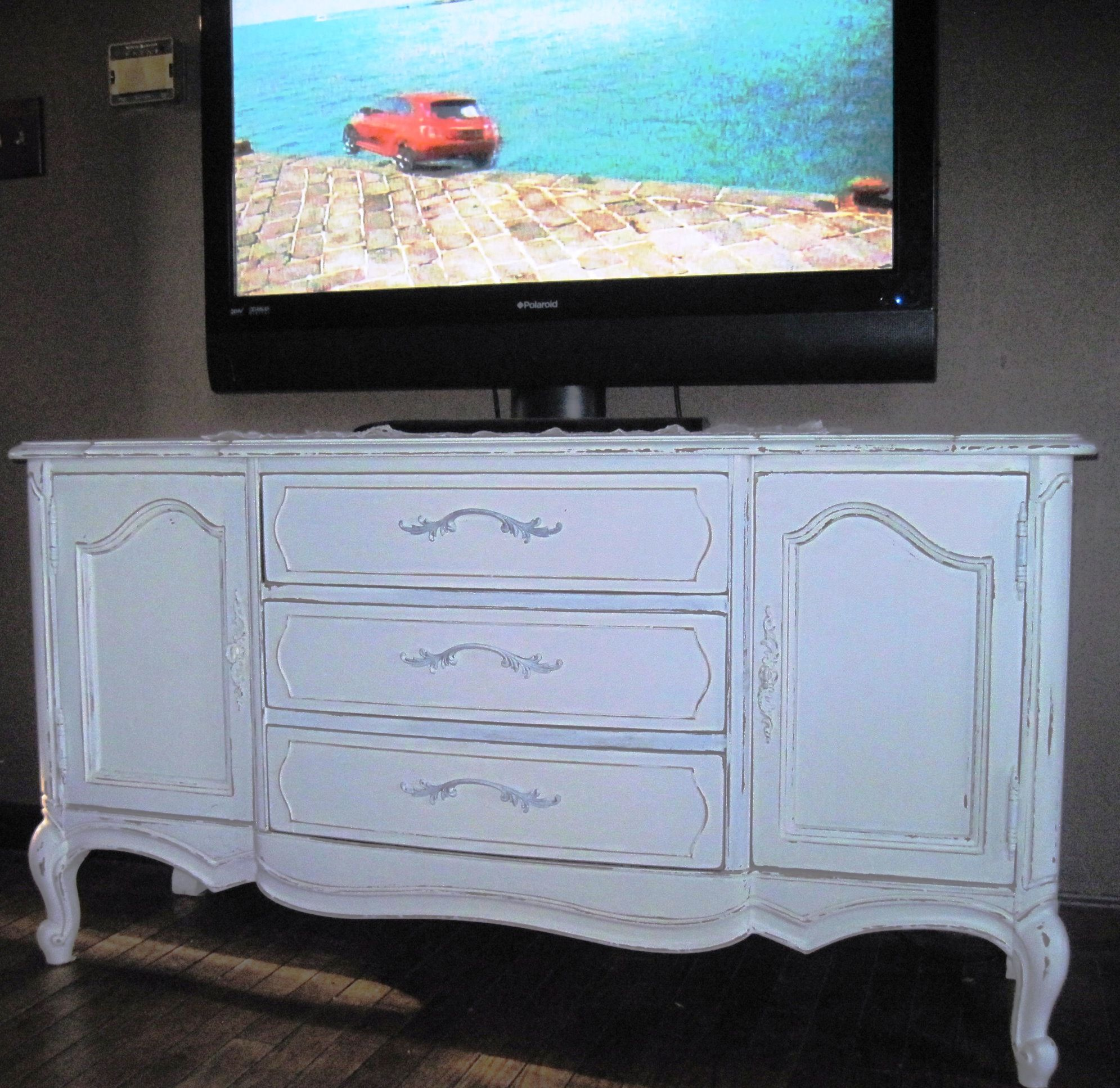 Antique french grey shabby chic television cabinet stand tv unit ...