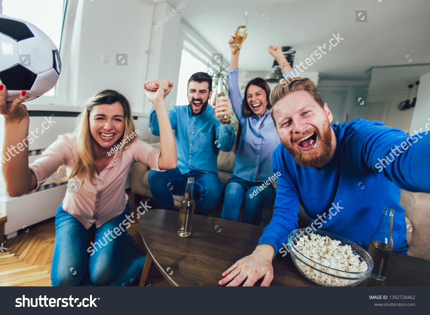 Happy Friends Or Football Fans Watching Soccer On Tv And Celebrating Victory At Home Friendship Sports And Entertainment Concept Ad Sponsored Watching S