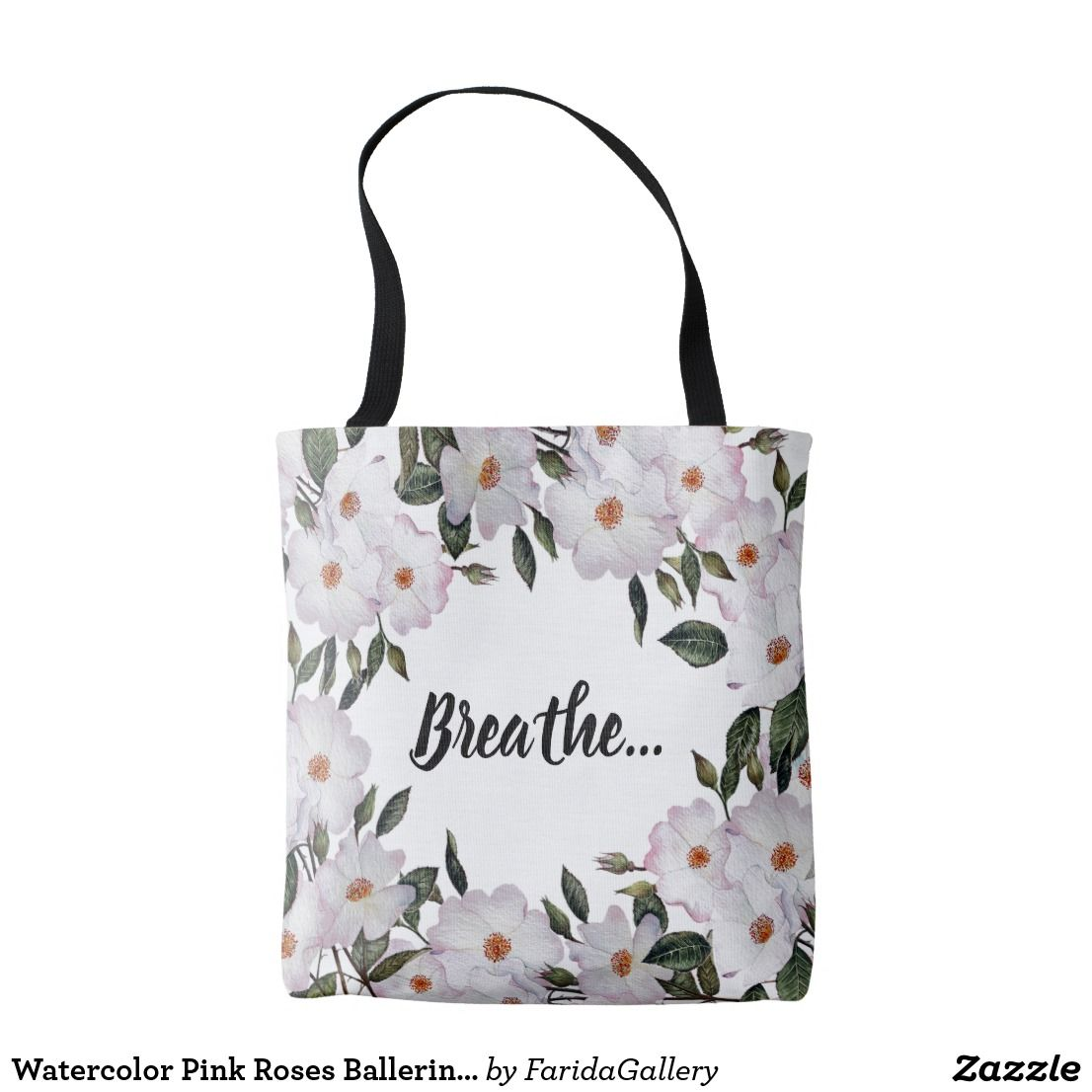 Watercolor Pink Roses Ballerina Floral Design Tote Bag Zazzle
