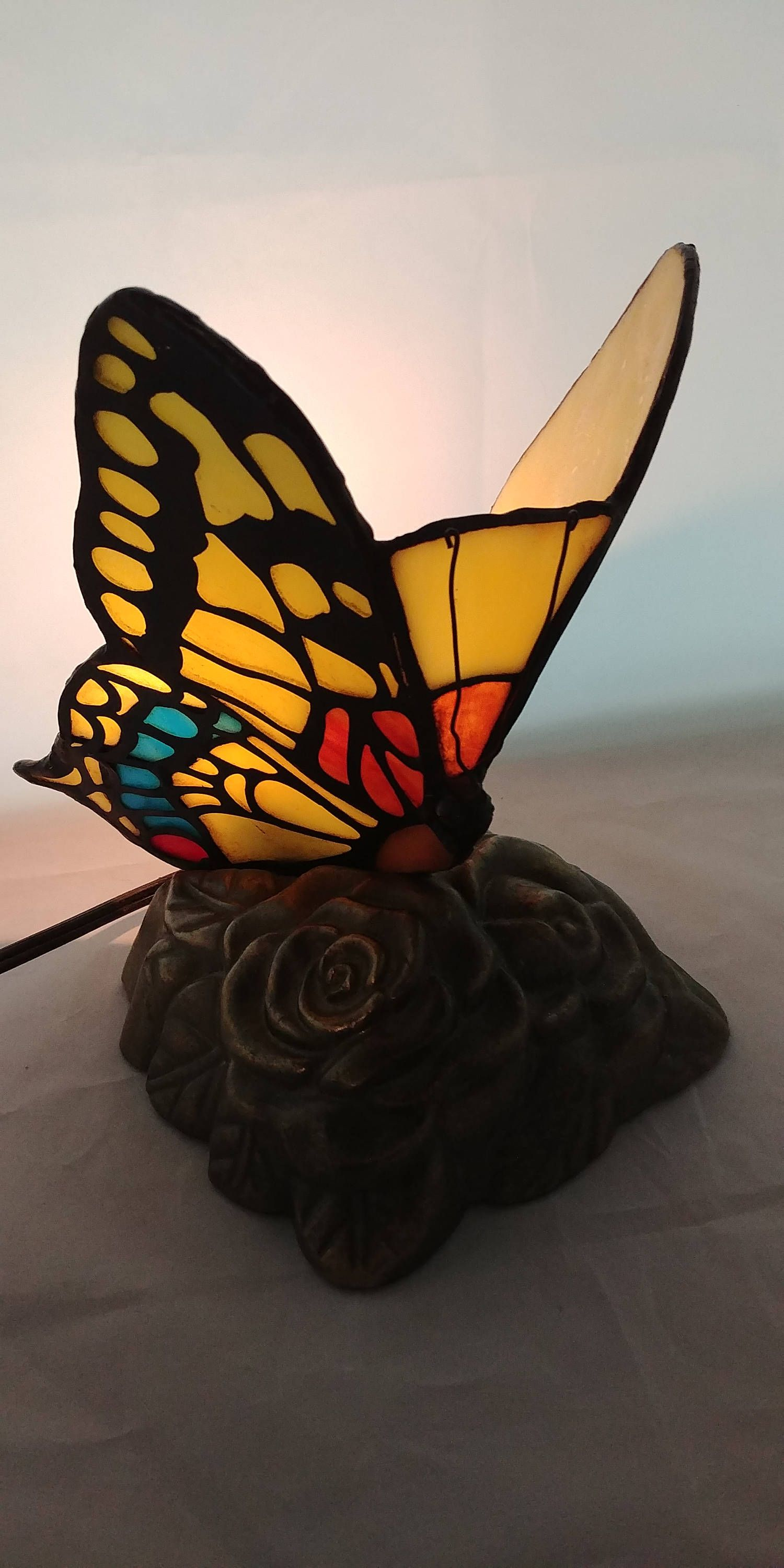Stained Glass Butterfly Lamp,Tiffany Style Accent Lamp,Table Desk  Lamp,Multi Colored Butterfly Night Light