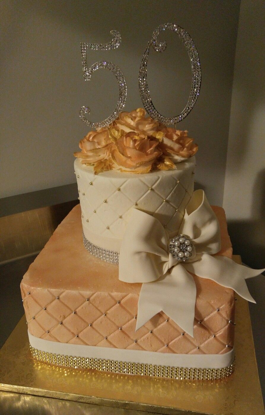 Sparkly Rose Gold 50th Birthday Cake VintageBakery 803 386 8806