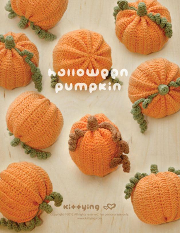 Häkelanleitung mit Halloween Kürbis als Herbstdeko / crocheting ...