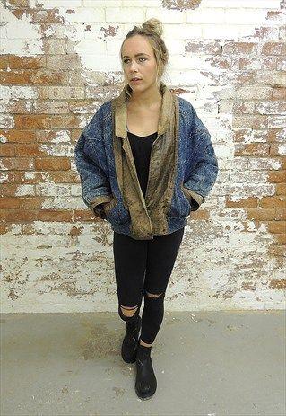Vintage 80's Reversible Denim & Brown leather Jacket
