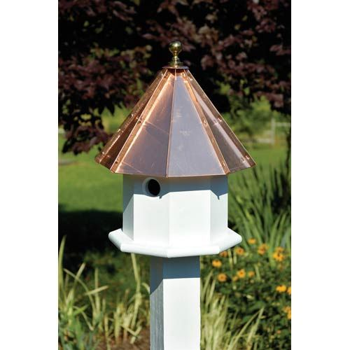 Heartwood Oct Avian White With Bright Copper Roof Birdhouse 035a Bird Houses Copper Roof Bird House Kits