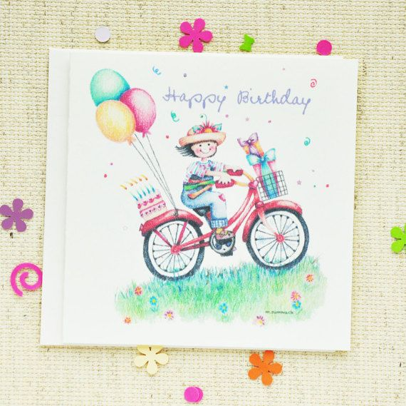 Card childrens birthday card kids birthday card girls birthday birthday card childrens birthday card kids birthday card girls birthday card cute birthday card featuring girl on bookmarktalkfo Choice Image