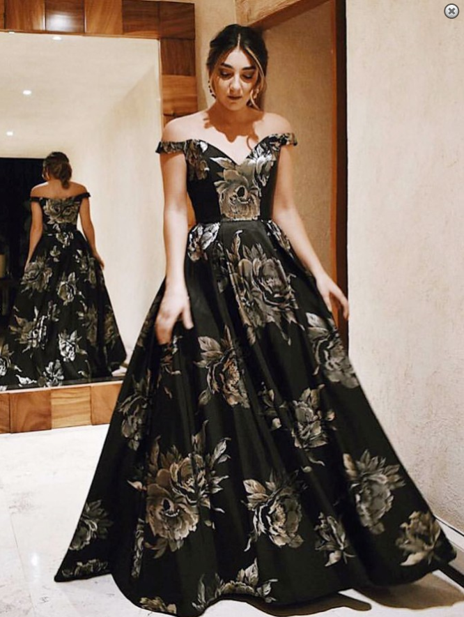 1f0144e5e92 A-Line Off-the-Shoulder Floor-Length Black Floral Satin Prom Dress by prom  dresses