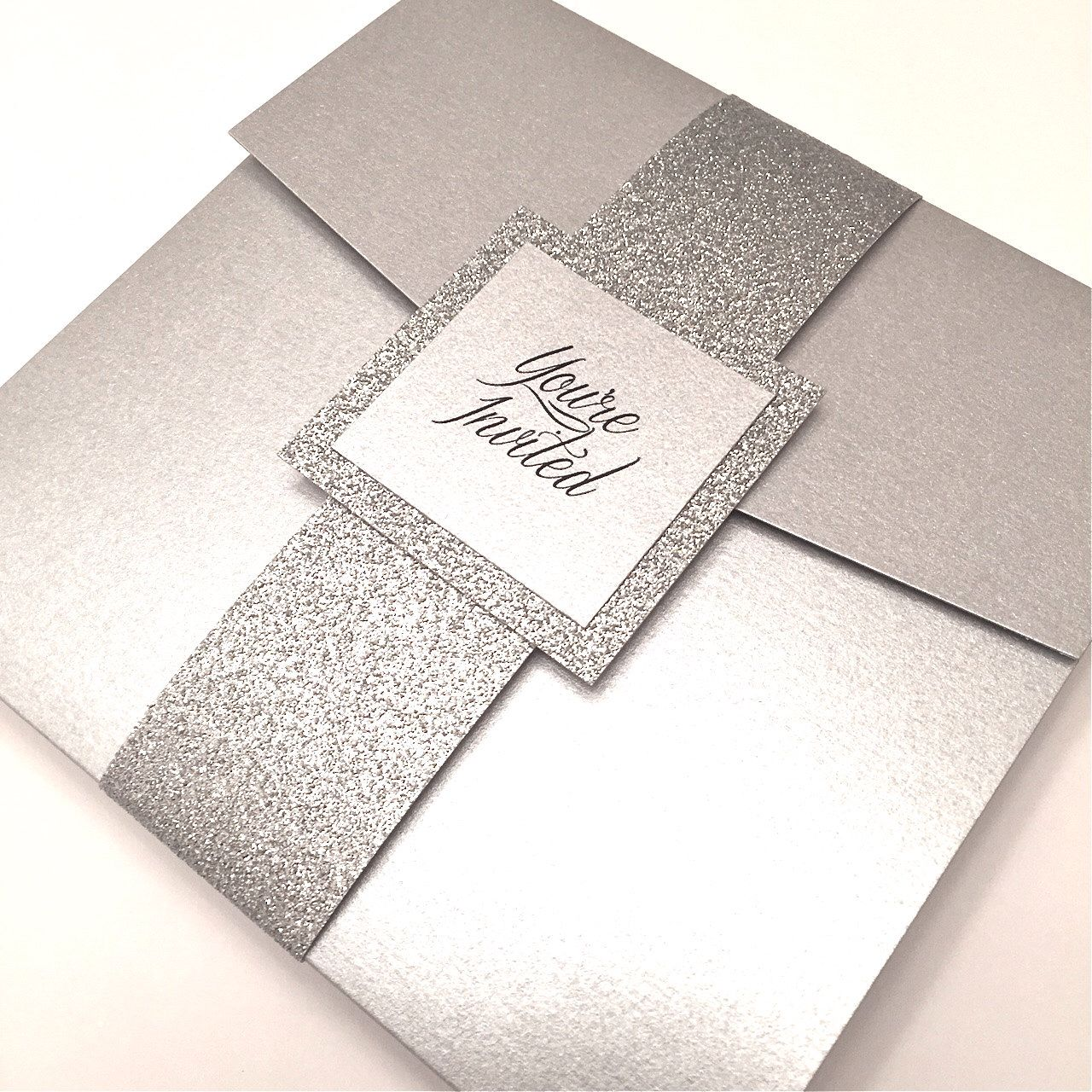 Silver Wedding Invitation Silver And Bling Pocketfold Invitation