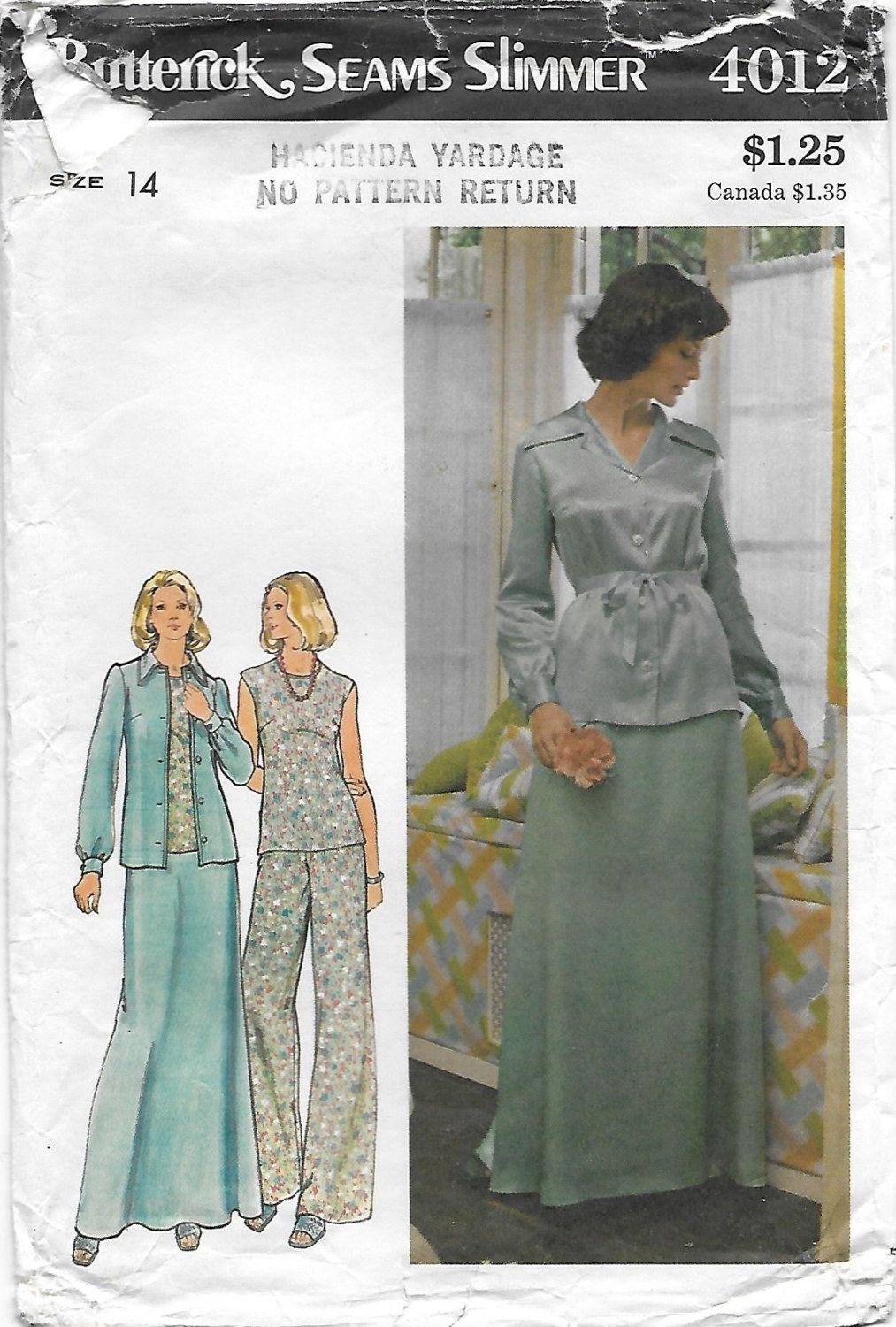 Butterick 4012 Misses' 70s Jacket, Top, Skirt & Pants Sewing Pattern Bust…