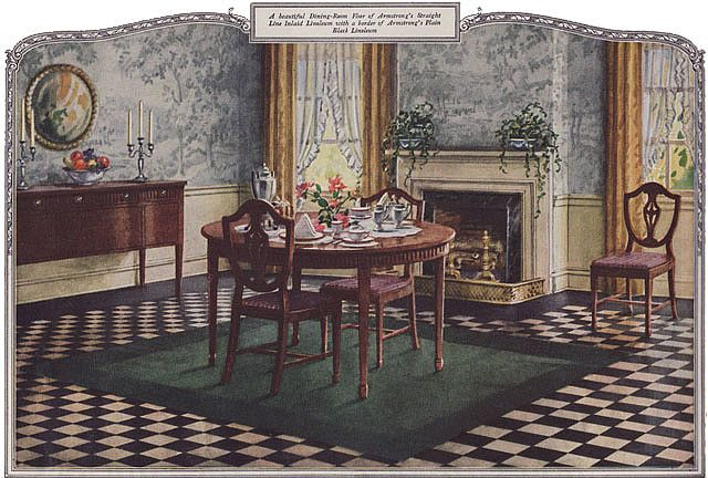 1924 Dining Room Armstrong Linoleum 1920s Home Decor Vintage Dining Room Vintage House