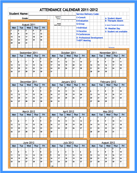 free printable attendance calendar 2016