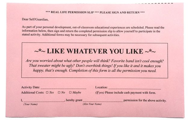 8 Permission Slips For Real Life 8, Real life and Love - payment slips