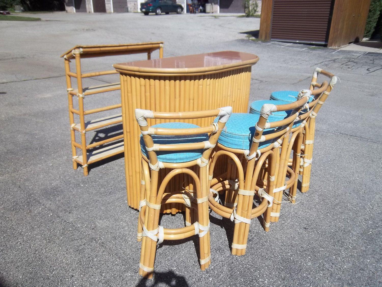 1950u0027s Vintage Rattan Furniture   Rolling Tiki Bar, 4 Bar Stools, Liquor  Shelf,