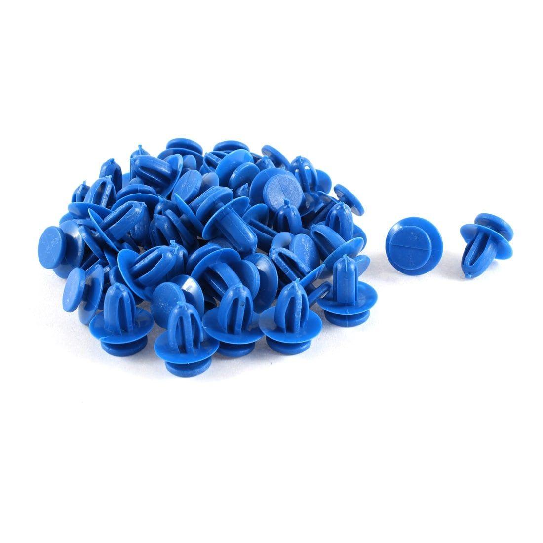 Unique Bargains 50 Pcs Blue Plastic Push in Fasteners Rivets Fender Clips 9mm Hole for Toyota