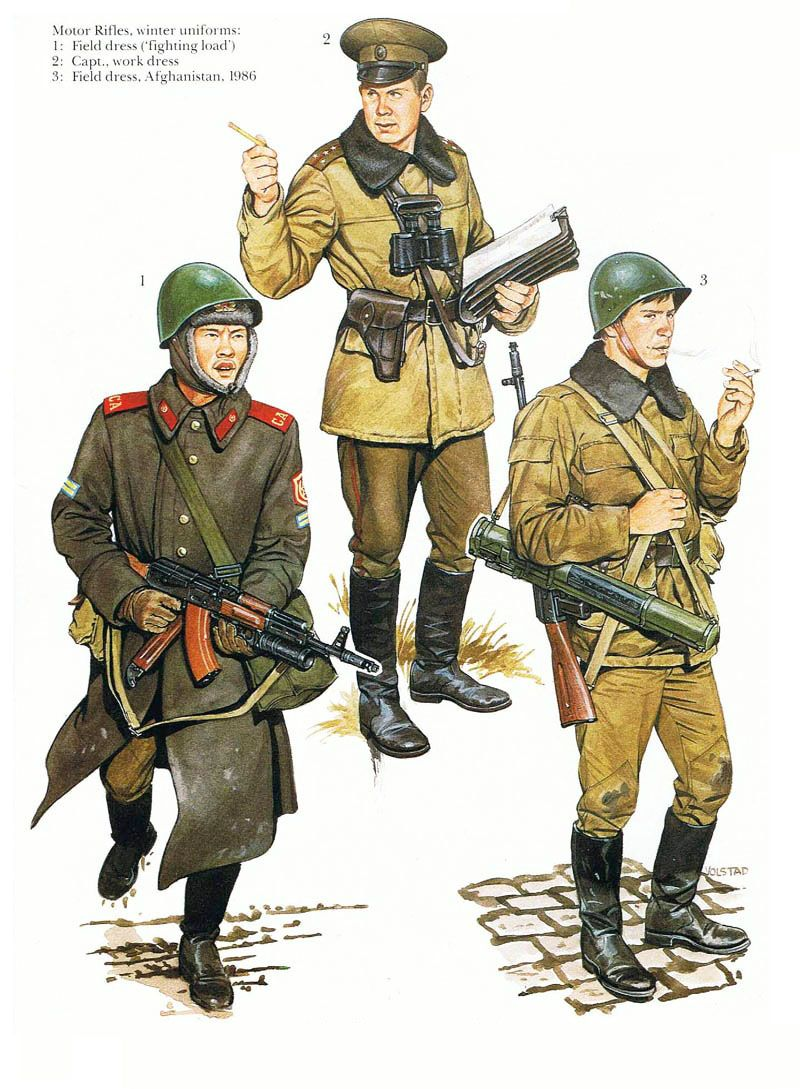 1980s Soviet Army winter field uniforms.