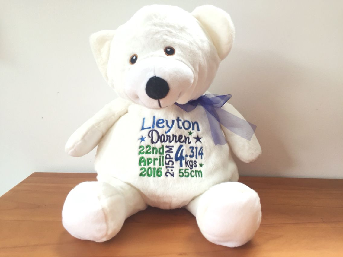Personalised baby gift embroidered teddy bear personalised plush personalised baby gift embroidered teddy bear personalised plush by bridal bling australia negle Image collections