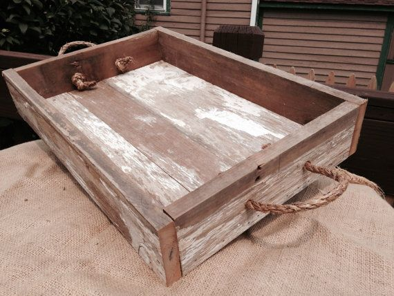 Rustic Wooden Tray Ottoman Tray Serving Tray Barn Wood