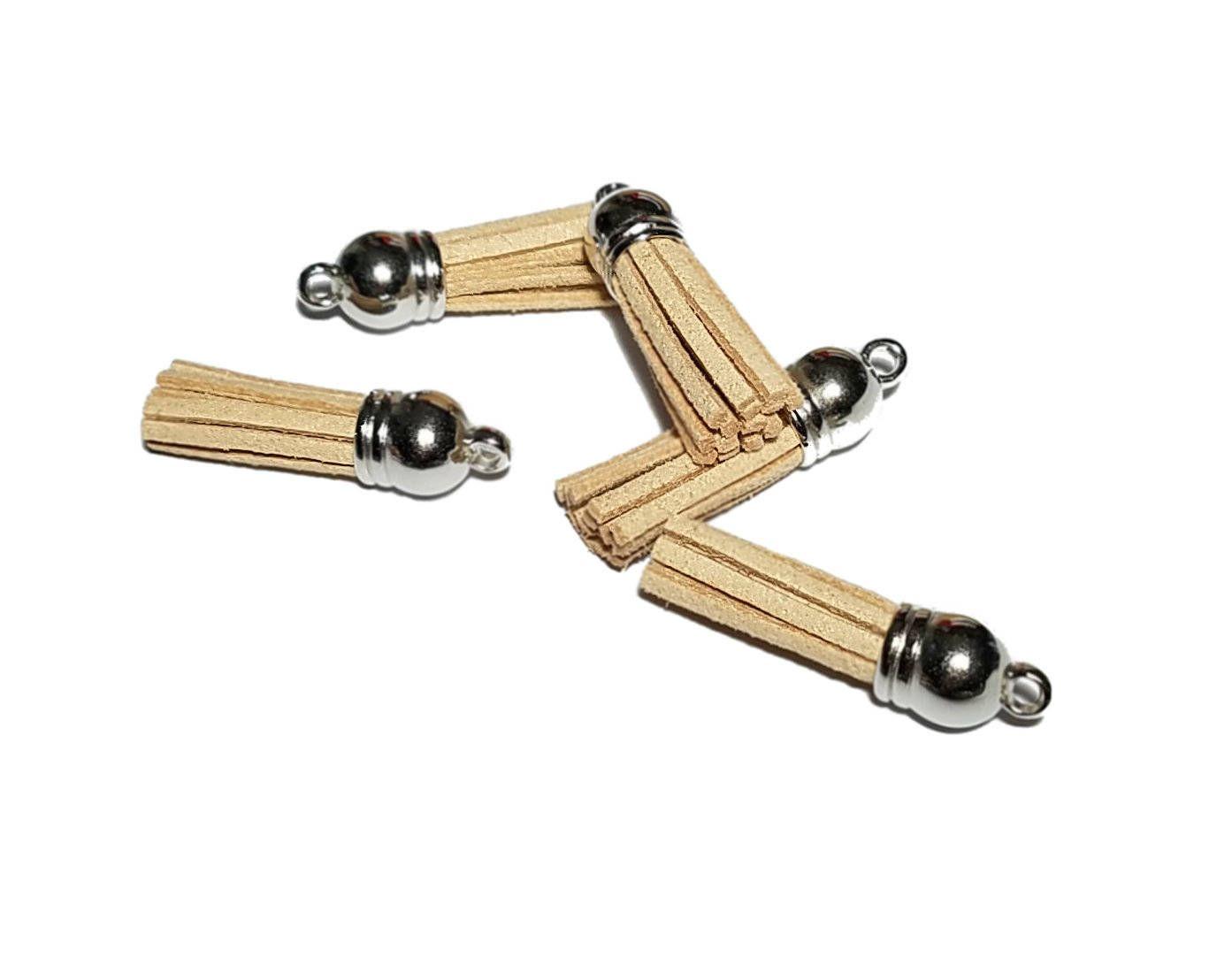 Tassels - 10 Beige Tassel Charms - Small Tassels - Silver Cap Diy Key Chain Tassels - Tassels For Jewelry Making, Wine Charms - TC-S114 #smallbiz #keepmaking