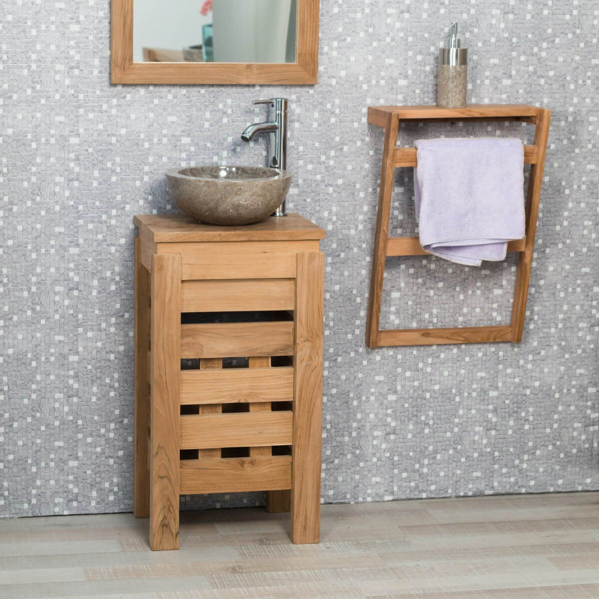 Petit meuble salle de bain wc zen en teck 40cm for Meuble sous vasque 40 cm profondeur