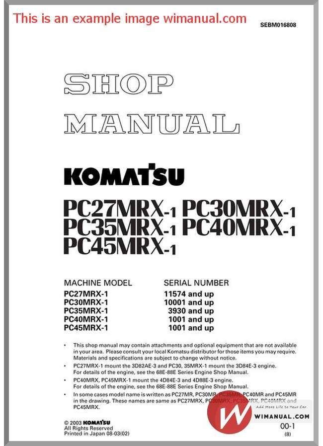 Komatsu Pc27mrx 1 Pc30mrx 1 Pc35mrx 1 Pc40mrx 1 Pc45mrx 1 Shop Manual Sebm016808 Manual Hydraulic Pump Komatsu