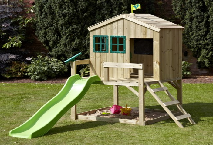 Wooden Playhouse With Slide At Front Playhouse With Slide Play