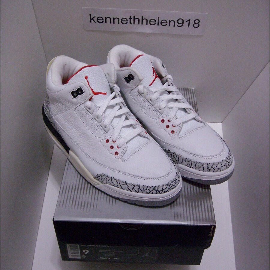 watch aa842 1410f NEW 2003 NIKE AIR JORDAN III 3 RETRO WHITE CEMENT GREY FIRE ...