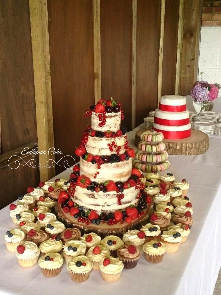 Semi Naked Wedding Cake With Matching Cupcakes And French Macaron Mini Tower Milton Keynes Buckinghamshire