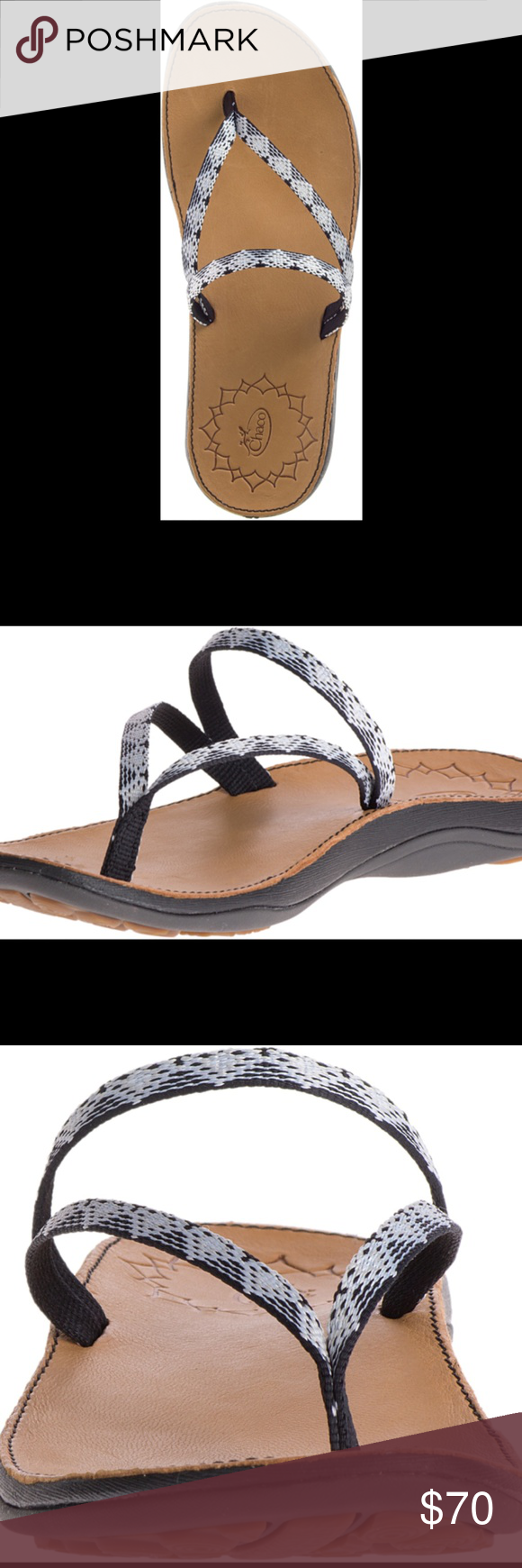 a3e000eae68d Women s Chaco Abbey- Peaks Black   White UPPER  Polyester jacquard webbing  upper MIDSOLE  Women s specific LUVSEAT™ PU midsole Synthetic footbed  OUTSOLE  ...