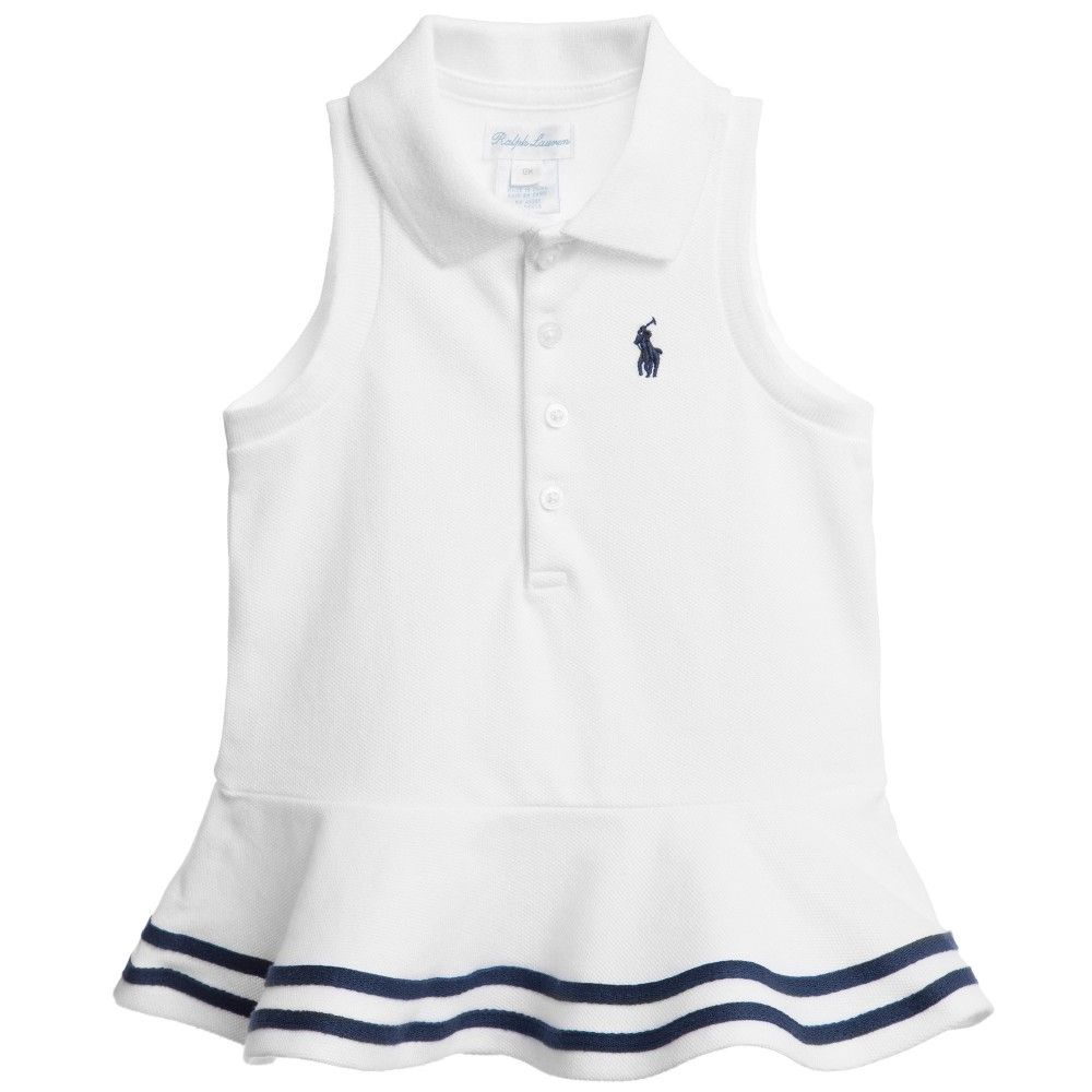 Baby Girls White Cotton Polo Top, Ralph Lauren, Girl