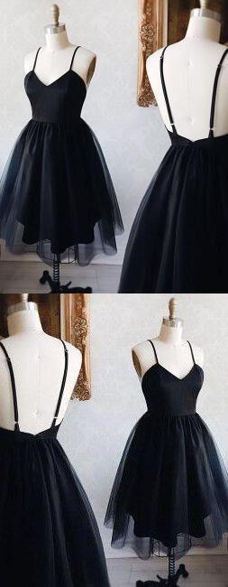 Schwarzes V-Ausschnitt, Heimkehrkleid, günstiges Heimkehrkleid, kurzes Abschlussballkleid, Heimkehr #shortbacklessdress