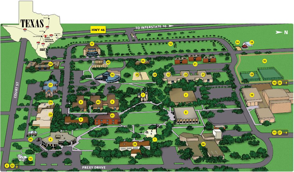 Map Of Texas Lutheran University.Campus Tlu Events Interactive Map Campus Map Map