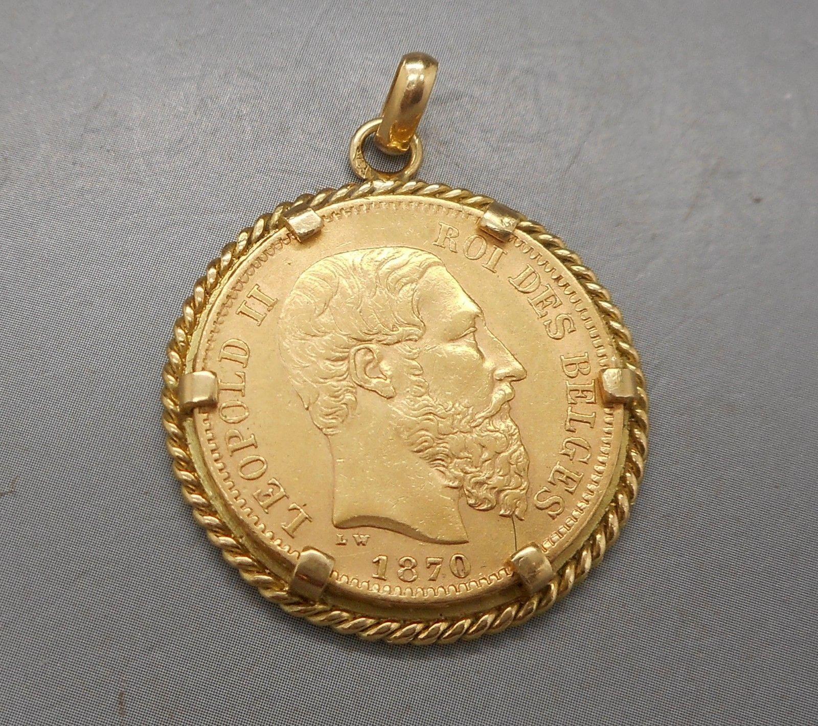 ab86494da7919 ANCIEN PENDENTIF PORTE pièce en or 18 carats et 20 francs Belge - EUR 375,