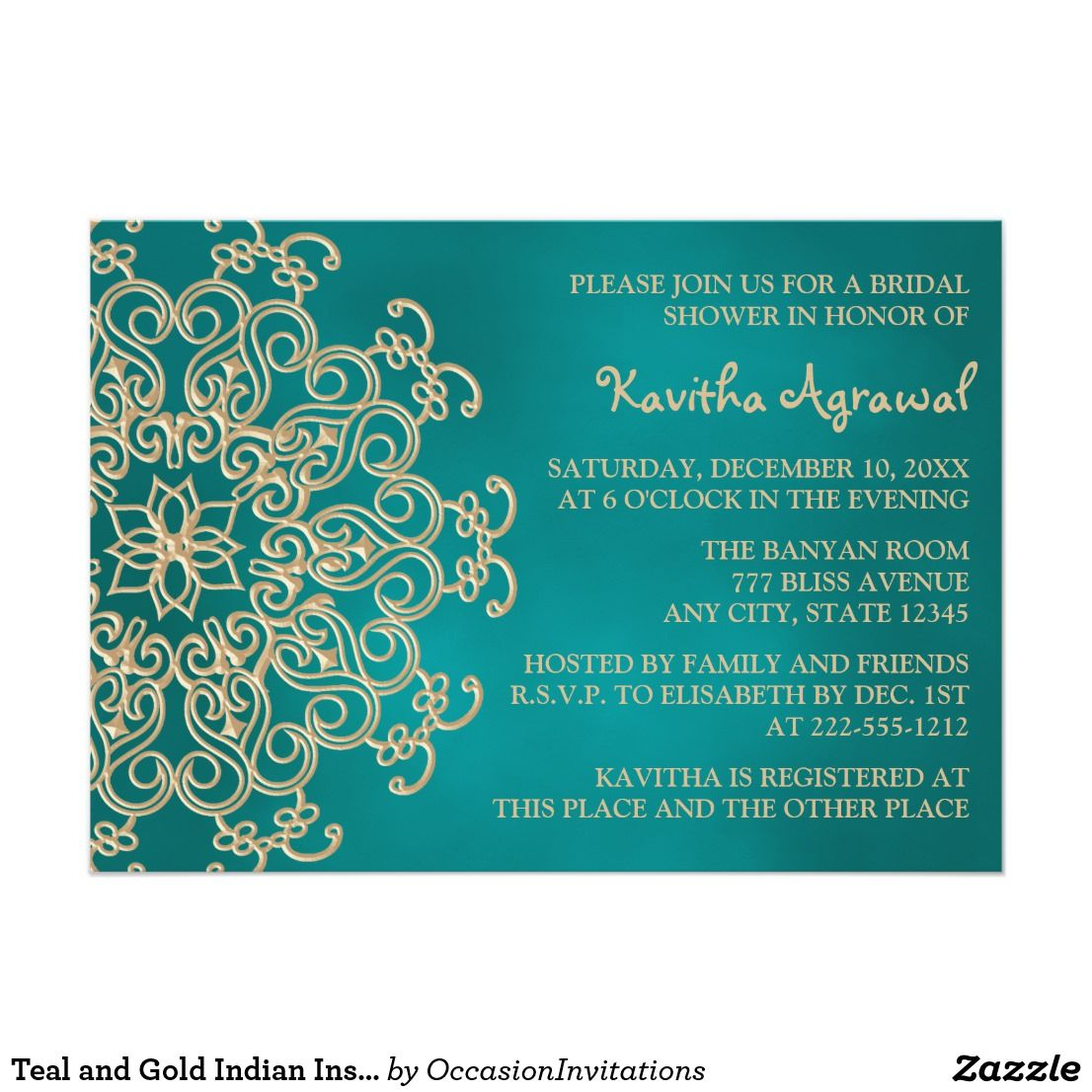 Painted Couple Peacock Wedding Gifts Unique Delicate Home: Teal And Gold Indian Inspired Bridal Shower Invitation