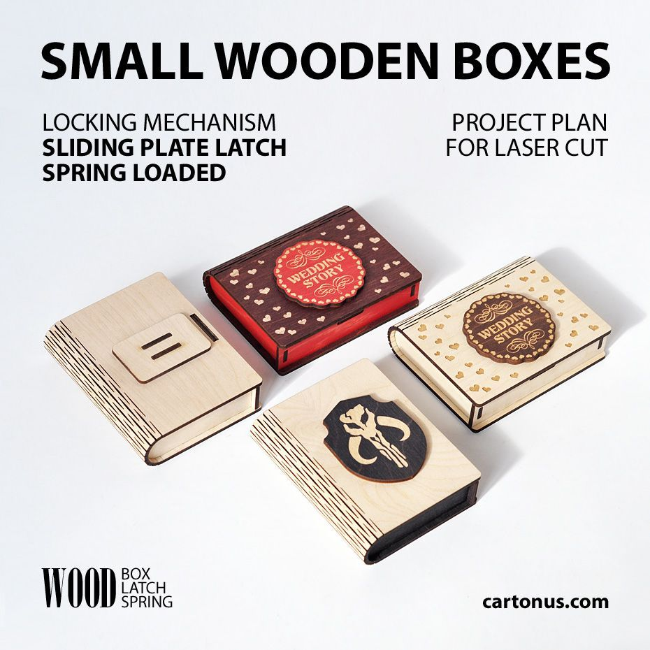 Boxes With Sliding Plate Latch Spring Loaded Lasercut Vector Model Project Plan For