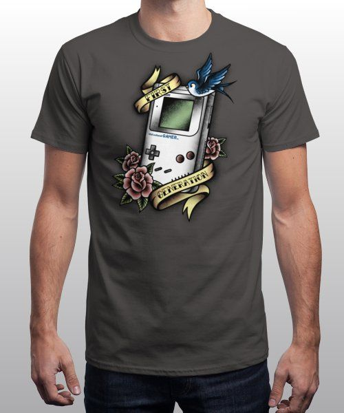 """Old school gamer"" is today's £8/€10/$12 tee for 24 hours only on www.Qwertee.com Pin this for a chance to win a FREE TEE this weekend. Follow us on pinterest.com/qwertee for a second! Thanks:)"