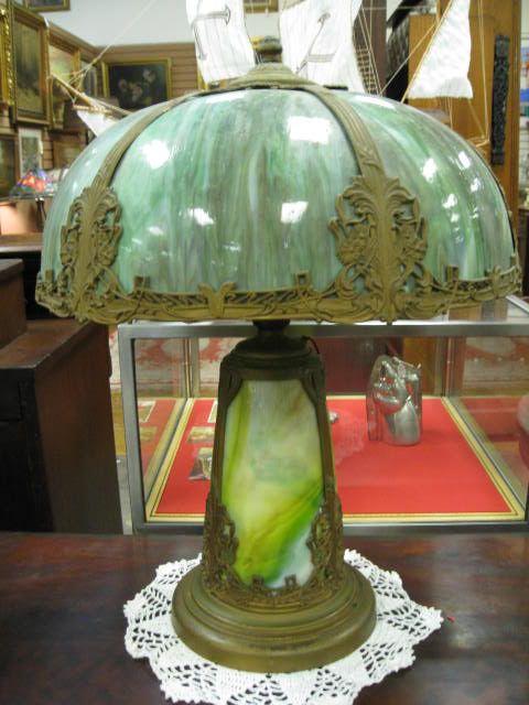 Beautiful slag glass lamp ~ great slag glass shade with greens ...