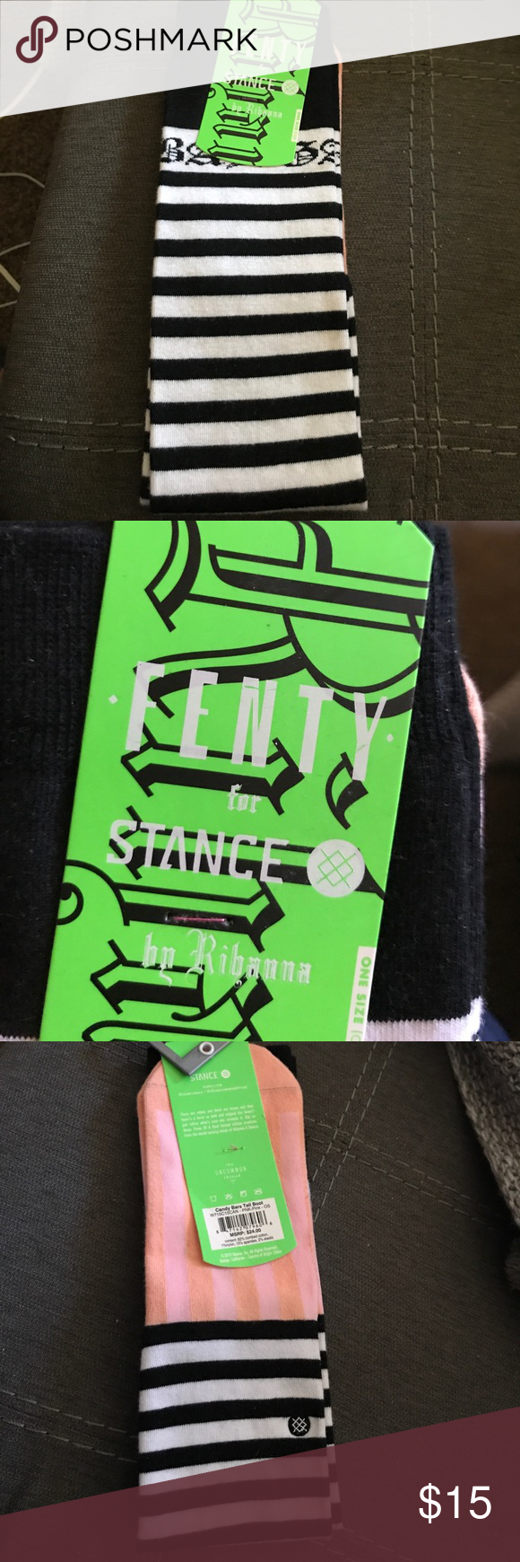 Stance socks This are stripped high knee socks. They have a pink foot and they are limited edition sock by Fenty for Stance Stance Other