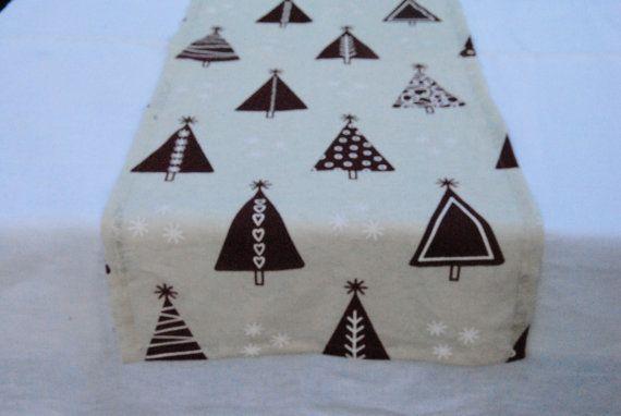 Christmas Table Runner cream cotton with Christmas tree от RPlinen