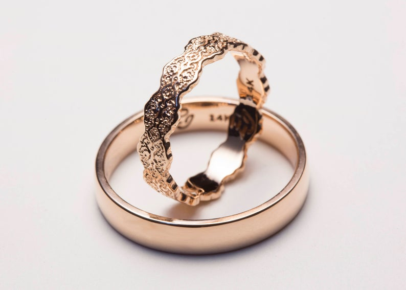 Rose Gold His and Hers Wedding Bands Rose Gold Ring Set