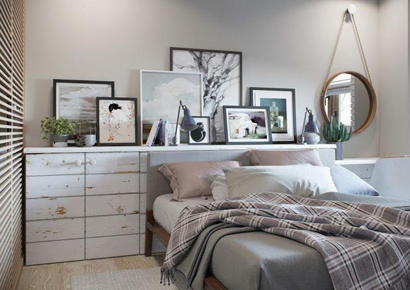 Mensole Per Camera Da Letto : Mini appartamento in azzurro bianco e legno la camera da letto
