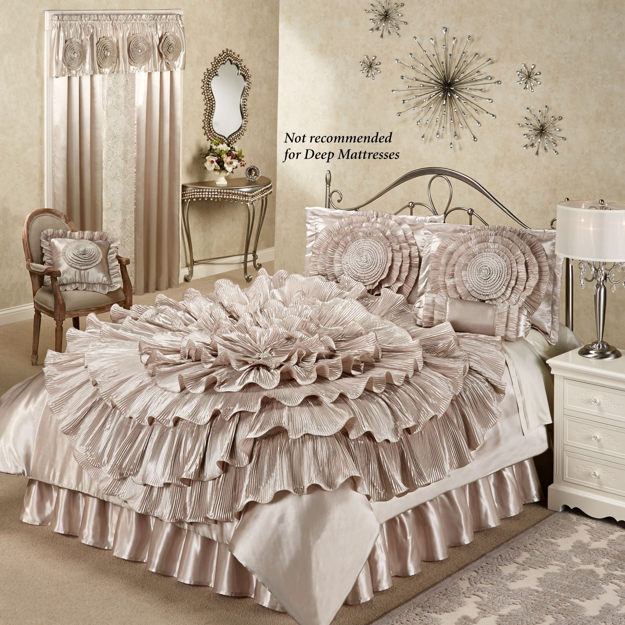 chagne bedroom home gt ruffled chagne rosette comforter bed set home decor