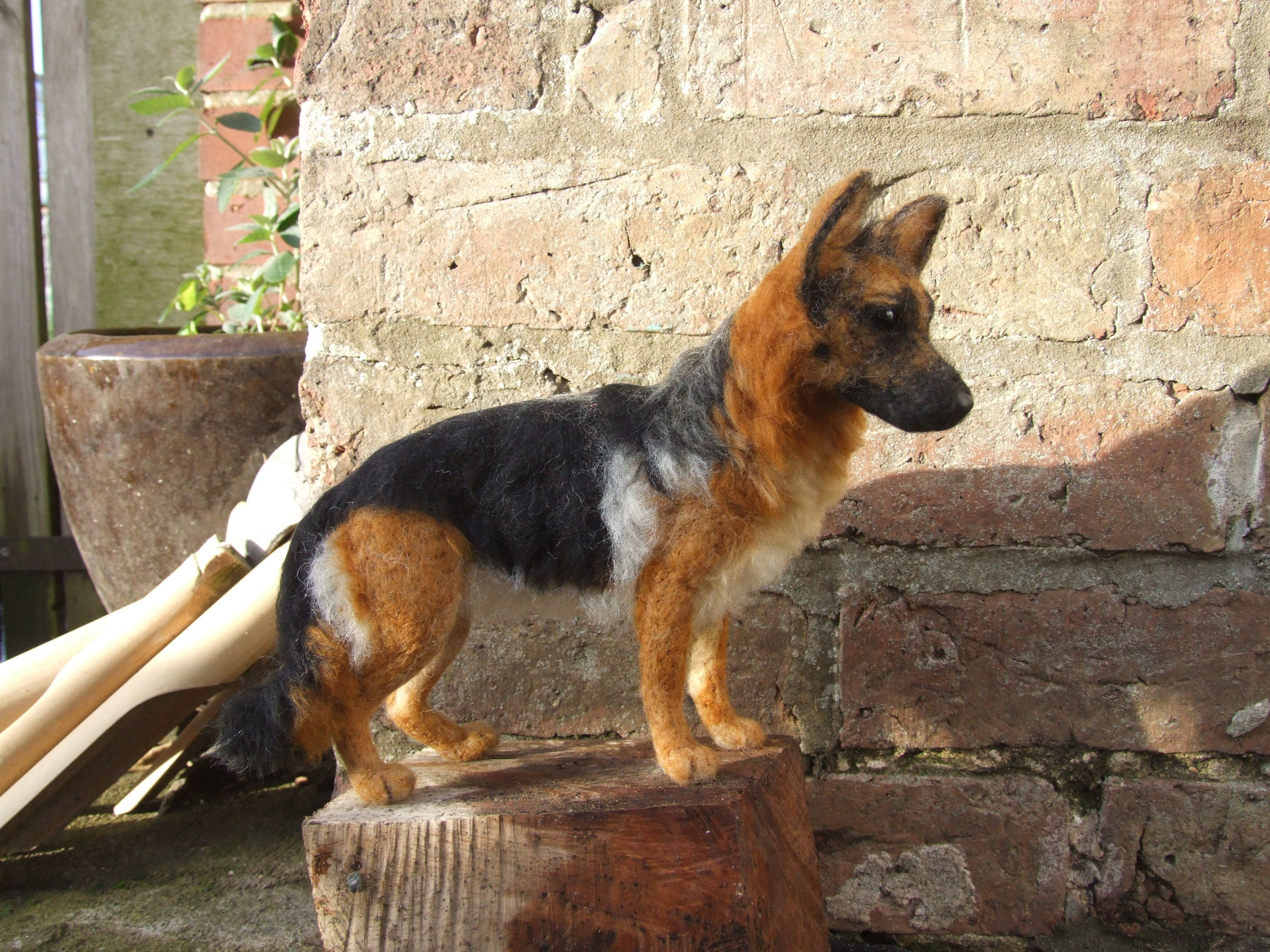 """Needle felted German Shepherd """"King"""" who now lives in"""