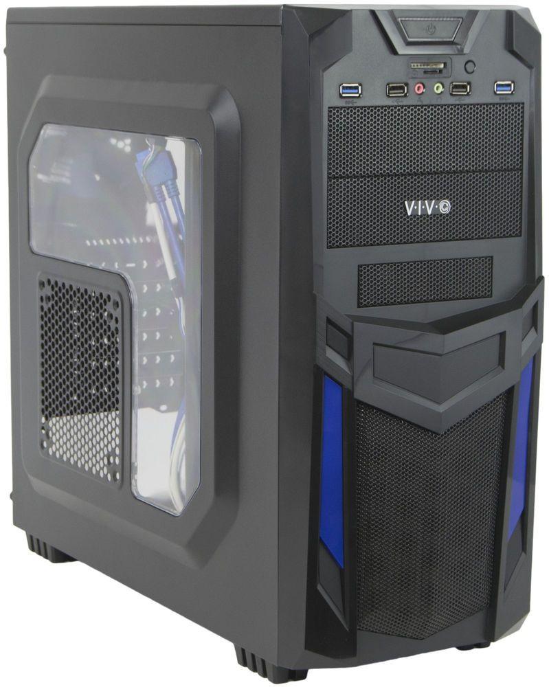 USB 3.0 Port 4 Fan Mounts VIVO ATX Mid Tower Computer Gaming PC Case Black