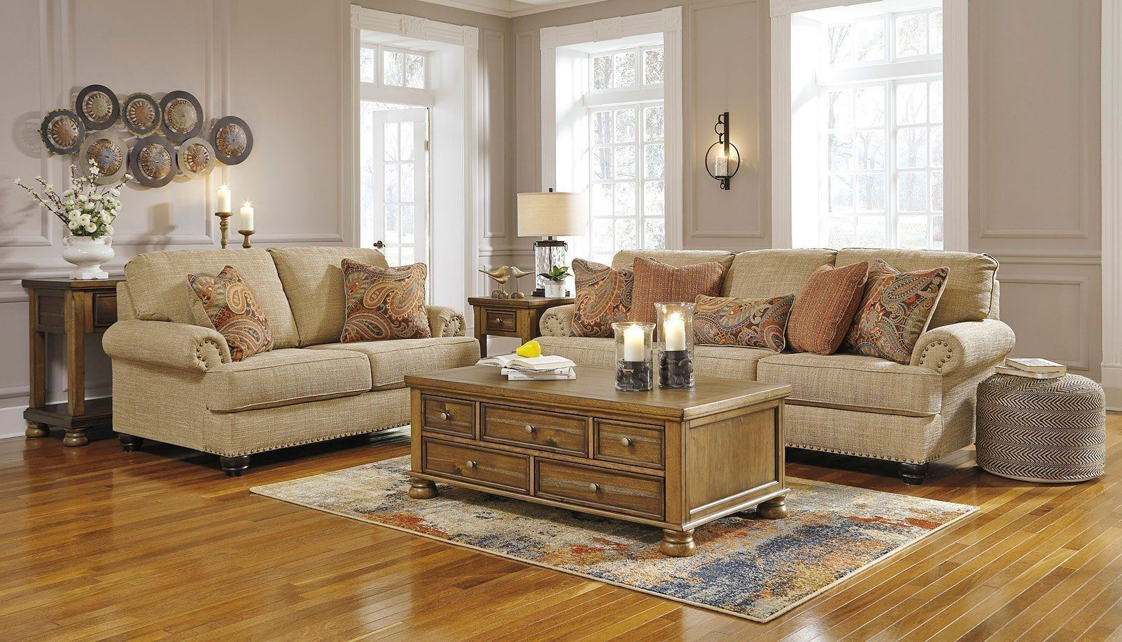 It's likely you and your guests will spend countless hours in this room, discussing and entertaining. Candoro Oatmeal Living Room Set #Livingroomideas | Living ...