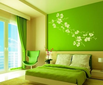 Vivid Green Bedroom Wall Art Green Bedroom Decor Bedroom Colour Schemes Green Green Bedroom Paint