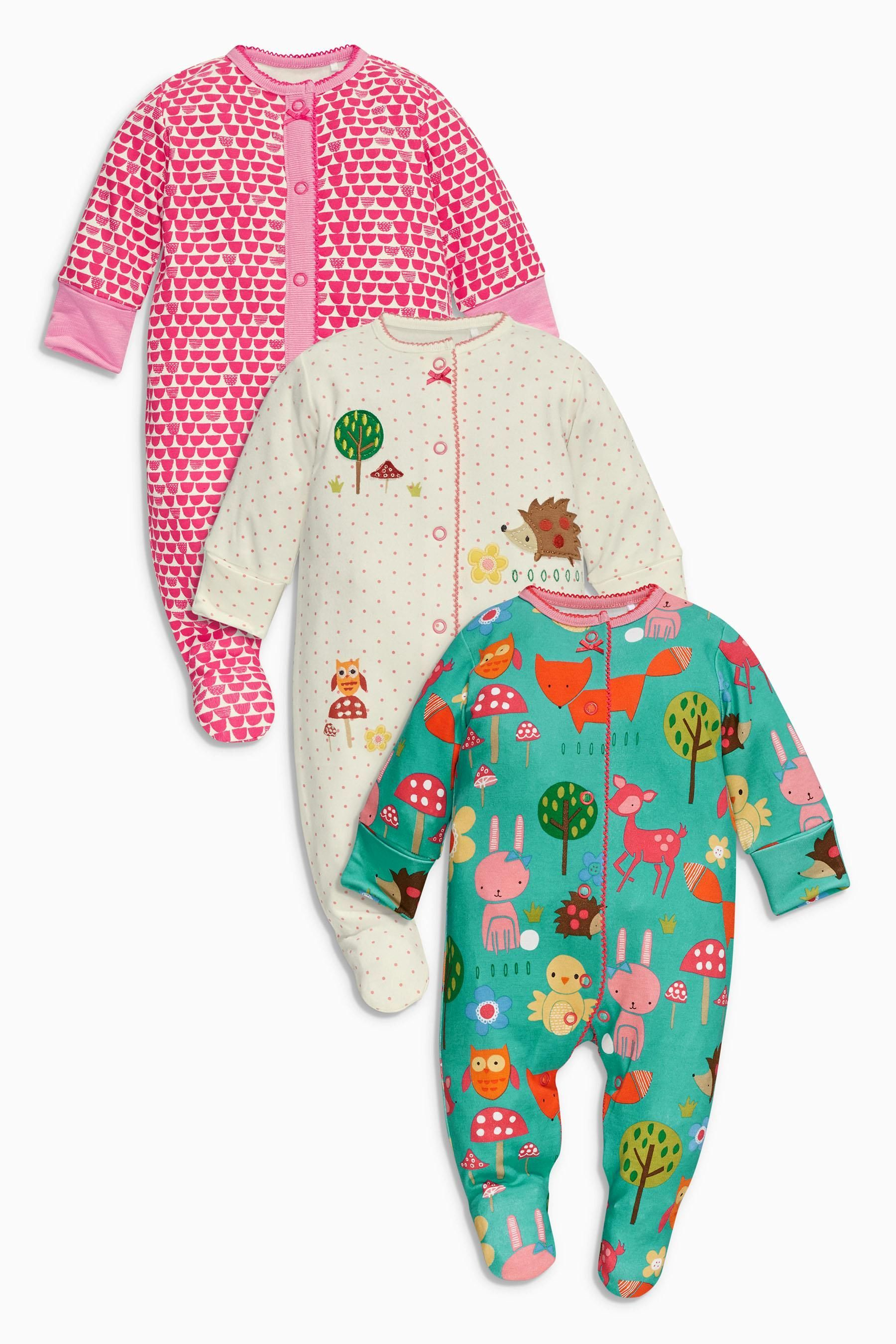 0b92ea044137 Buy Turquoise Woodland Sleepsuits Three Pack (0mths-2yrs) from the ...