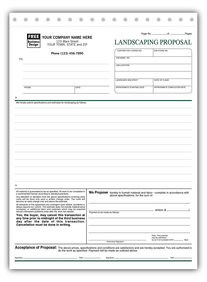 Free Landscaping Proposal Templates 5568 Landscaping Proposal