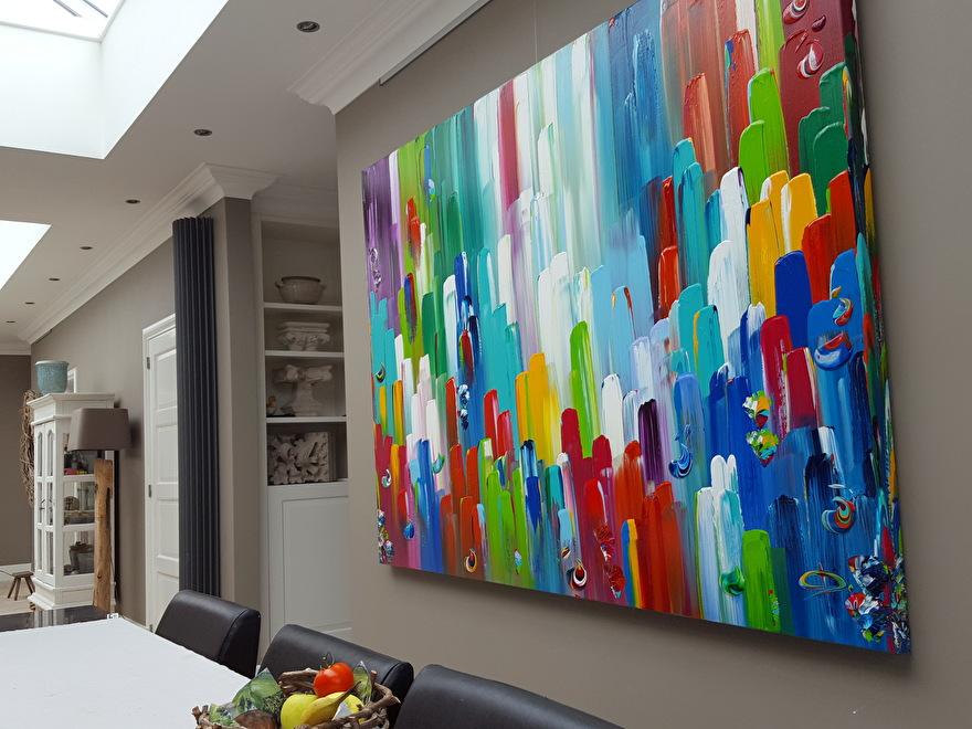 200 X 150 Cm Kleurrijk Abstract Schilderij Xxl Wanddecoratie Primaire Kleuren Rood Geel Groen Blauw Abstracte Schilderijen Kleurrijke Schilderijen Abstract